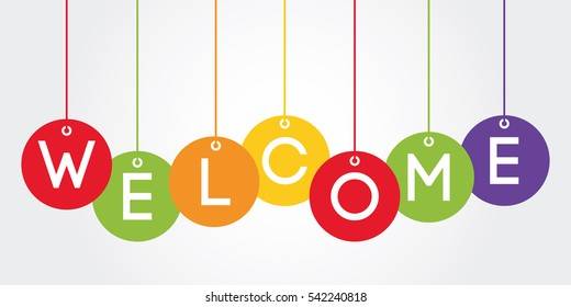 welcome. banner hanging ball style, vector illustration