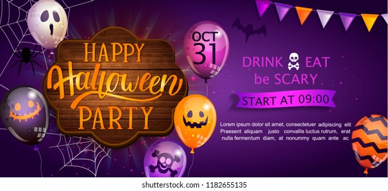 Welcome Banner for Happy Halloween party with lettering on wooden board and monster balloons. Invitation and greeting card with spider and bat for web, poster, placard, flyers. Vector illustration.