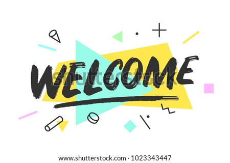 welcome banner speech bubble poster sticker stock vector royalty