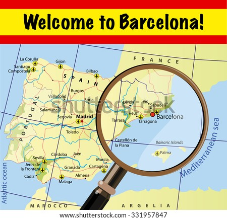 Welcome Barcelona Attractions On Map Stock Vector (Royalty Free ...