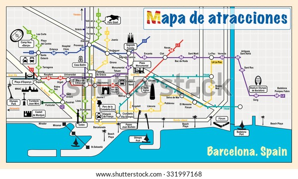 Welcome Barcelona Attractions On Map Stock Vector (Royalty ...