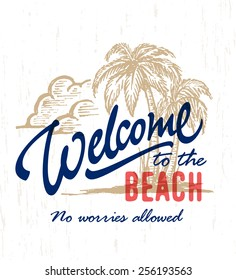 'Welcome to the beach' Vintage hand drawn sign with palm trees ink drawing. Handmade typographic summer art. Exotic tropical coastal decor. Sea shore vector illustration for print or poster.
