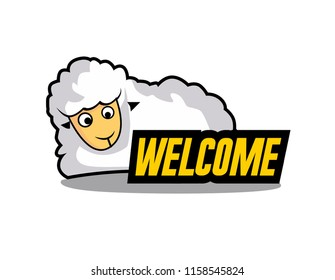 welcome, beautiful greeting card or label with sheep illustratition for farm theme, vector background, poster or banner
