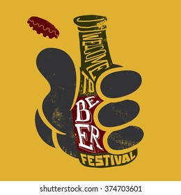 Welcome to the beer festival. Poster. Vector illustration for bars and restaurants. Handmade. Grunge style.