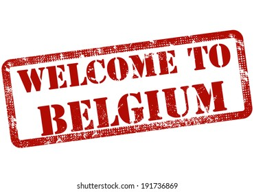 welcome to belgium grunge stamp with on vector illustration