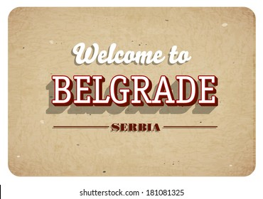 Welcome to Belgrade - Vintage greeting card