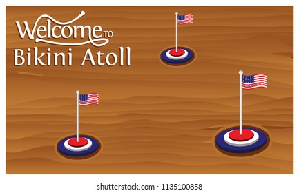 Welcome to Bikini Atoll poster with  Bikini Atoll  flag,  time to travel  Bikini Atoll . vector illustration isolated