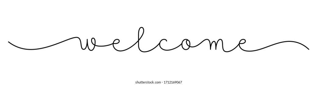 WELCOME black vector monoline calligraphy banner with swashes
