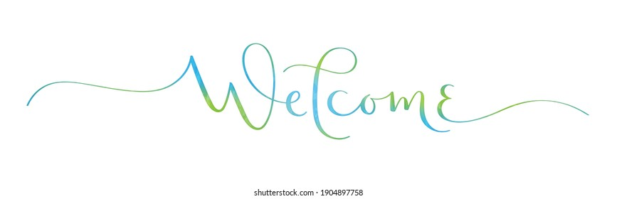WELCOME blue and green vector brush calligraphy banner with watercolor effect isolated on white background
