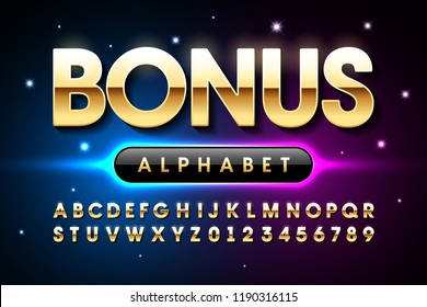 Welcome Bonus casino banner design font, alphabet letters and numbers vector illustration