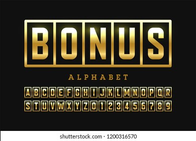 Welcome Bonus, casino banner design font, slot machine style alphabet letters and numbers vector illustration