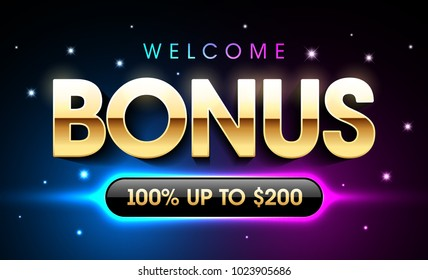 Welcome bonus gambling casino games banner, first deposit bonus, vector illustration