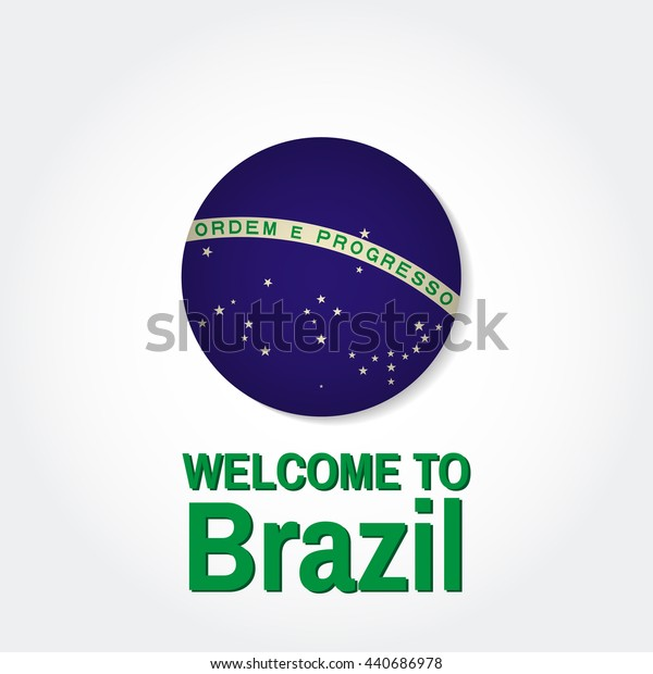 Welcome to Brazil. Patriotic banner for website template, cards, posters, logo. Vector illustration.