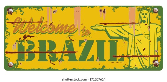 Welcome to Brazil sign, vector