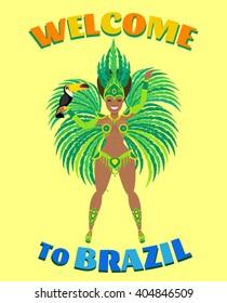welcome to brazil.beautiful brazilian woman in carnival costume with toucan bird