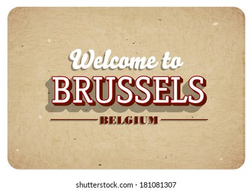 Welcome to Brussels - Vintage greeting card