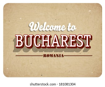 Welcome to Bucharest - Vintage greeting card