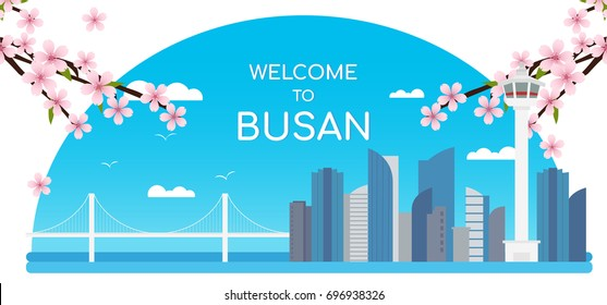 Welcome to Busan Banner Vector illustration. Cherry blossom and landmark of Busan.