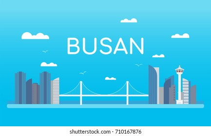 Welcome to Busan Banner Vector illustration. landmark of Busan, Beautiful rope bridge , Busan tower and cityscape building.