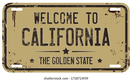 Welcome To California Message on Damaged License Plate
