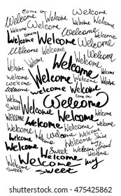 Welcome calligraphic lettering with outline hand drawn, Illustration EPS10 great for any use