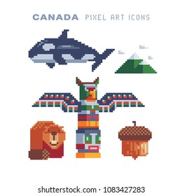 Welcome to Canada, elements culture pixel art icons set Part2, totem pole, beaver, orca killer, acorn, mountains. Isolated vector illustration. Travel and tourism. 8-bit. Design sticker, logo, app.