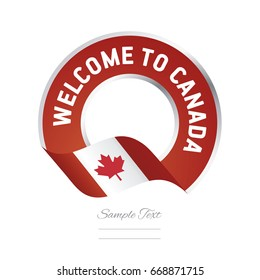 Welcome to Canada flag red label logo icon