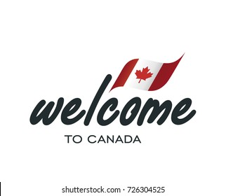 Welcome to Canada flag sign logo icon