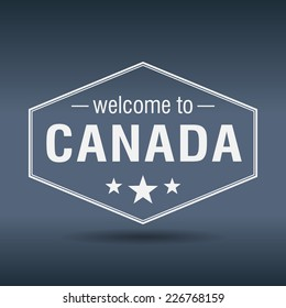 welcome to Canada hexagonal white vintage label