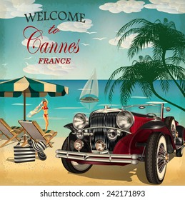 Welcome to Cannes retro poster.