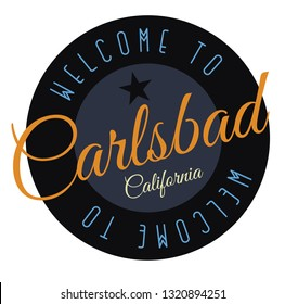 Welcome to Carlsbad California tourism badge or label sticker. Isolated on white. Vacation retail product for print or web.