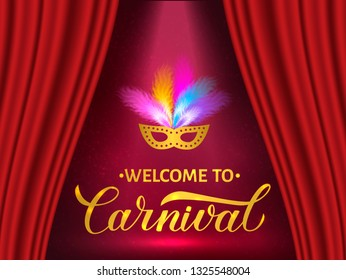 Welcome to Carnival gold lettering with mask and feather on bright background. Easy to edit template for Masquerade party poster, banner, flyer, invitation, logo, card. Vector illustration.