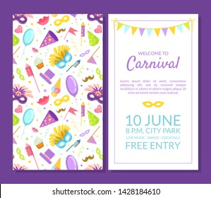 Welcome to Carnival, Masquerade Party Banner, Flyer or Invitation Card Template with Place for Text, Two Sides Vector Illustration