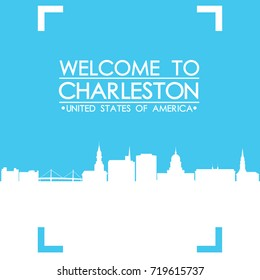 Welcome to Charleston Skyline City Flyer Design Vector art