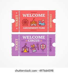 Welcome Circus and Amusement Park Tickets Flat Design Style Icon Set. Vector illustration for Creative Ticket Elements with Thin Line Icons.