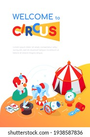 Welcome to circus - modern colorful isometric web banner