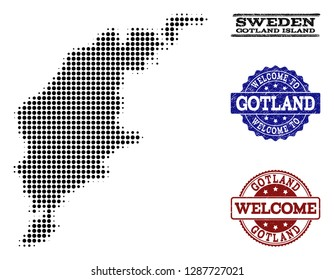 Welcome collage of halftone map of Gotland Island and corroded seals. Halftone map of Gotland Island constructed with black circle pixels.