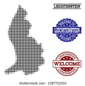 Welcome collage of halftone map of Liechtenstein and grunge seals. Halftone map of Liechtenstein constructed with black circle pixels.