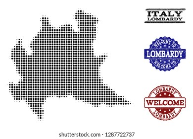 Welcome collage of halftone map of Lombardy region and rubber watermarks. Halftone map of Lombardy region constructed with black round items.