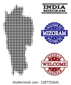 Welcome collage of halftone map of Mizoram State and rubber watermarks. Halftone map of Mizoram State constructed with black round items.