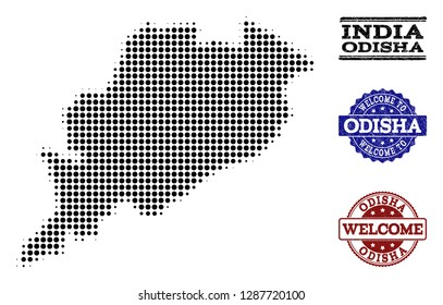 Welcome collage of halftone map of Odisha State and grunge stamps. Halftone map of Odisha State designed with black circle items.