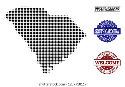 Welcome collage of halftone map of South Carolina State and unclean watermarks. Halftone map of South Carolina State designed with black spheric dots.