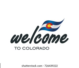 Welcome to Colorado USA flag sign logo icon