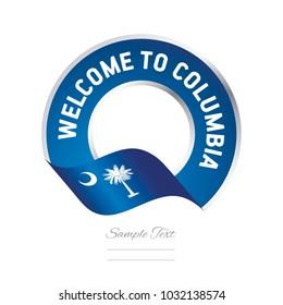 Welcome to Columbia South Carolina flag ribbon  travel logo icon stamp