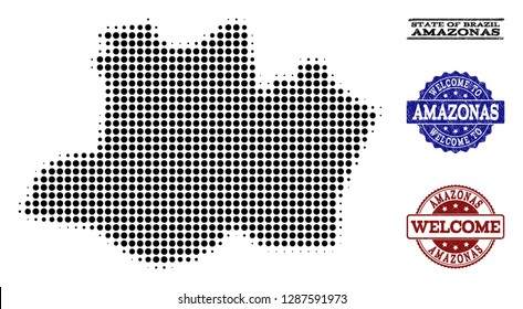 Welcome combination of halftone map of Amazonas State and rubber seals. Halftone map of Amazonas State constructed with black circle pixels.