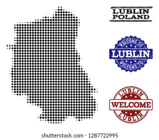 Welcome combination of halftone map of Lublin Province and rubber watermarks. Halftone map of Lublin Province designed with black circle pixels.