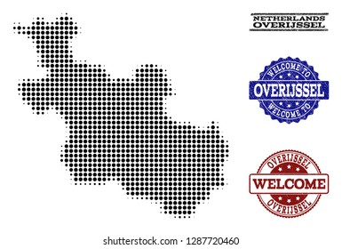 Welcome combination of halftone map of Overijssel Province and rubber watermarks. Halftone map of Overijssel Province designed with black round items.