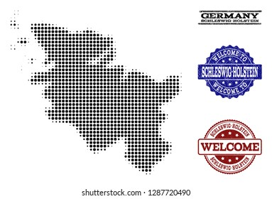 Welcome combination of halftone map of Schleswig-Holstein State and rubber seals. Halftone map of Schleswig-Holstein State constructed with black spheric points.