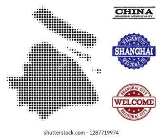 Welcome combination of halftone map of Shanghai Municipality and unclean watermarks. Halftone map of Shanghai Municipality designed with black spheric pixels.