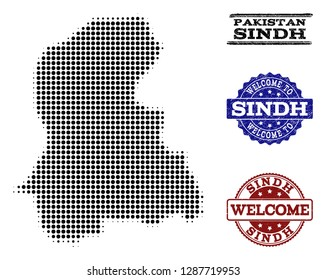 Welcome combination of halftone map of Sindh Province and corroded watermarks. Halftone map of Sindh Province designed with black circle items.